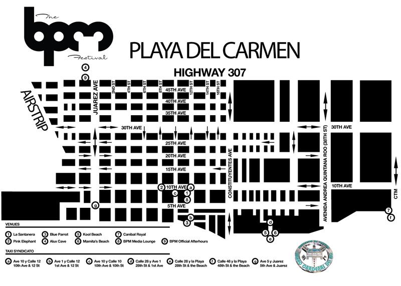 Sedes de la edición 2013 del BPM de Playa del Carmen