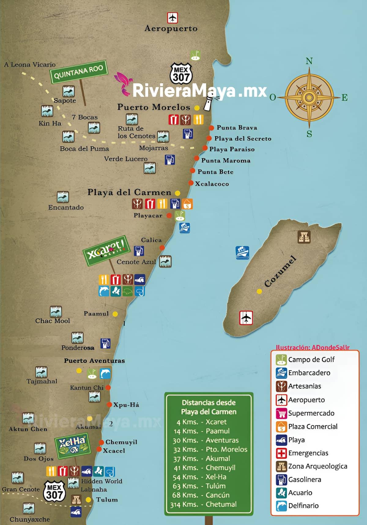 Cenotes map. Mapa de cenotes.