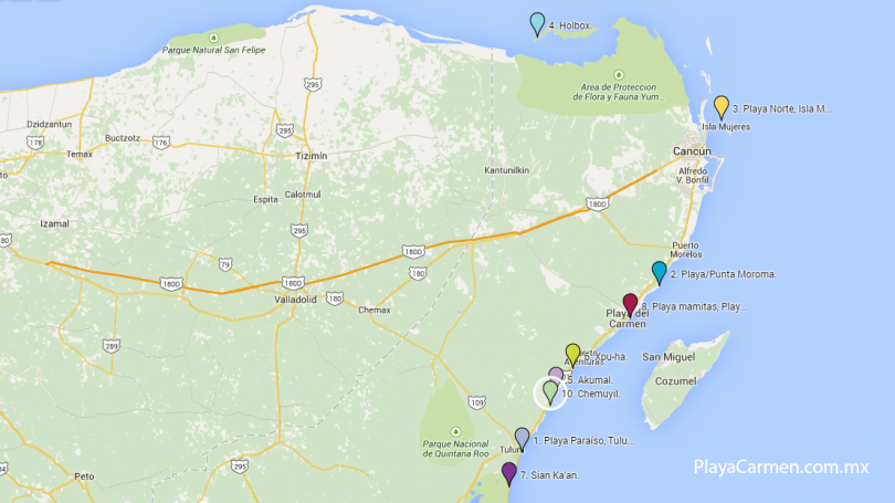 Mapa de ubicación de las playas.