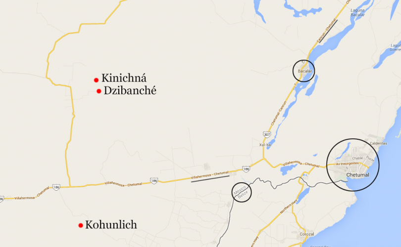 Mapa de ubicación de Dzibanche, Kinichná y Kohunlich. Ver en Google Maps.