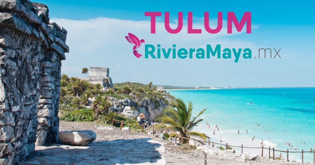 Ruinas de Tulún con el Mar Caribe de fondo.