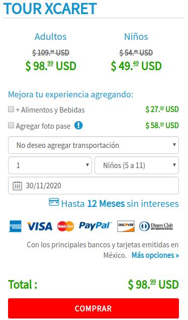 Formulario de compra de boletos para Xcaret.
